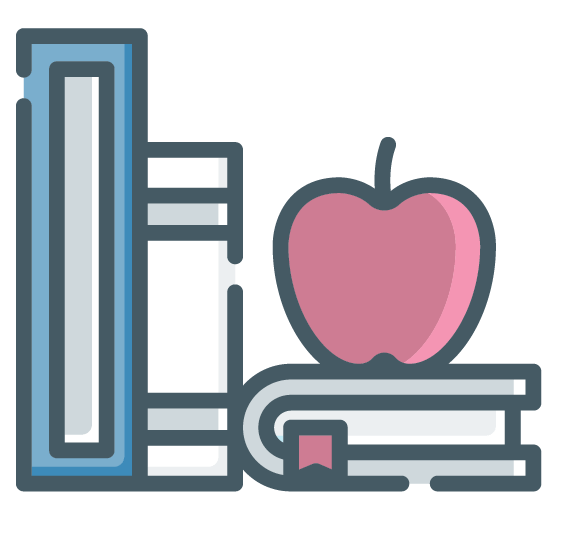 education books and apple icon